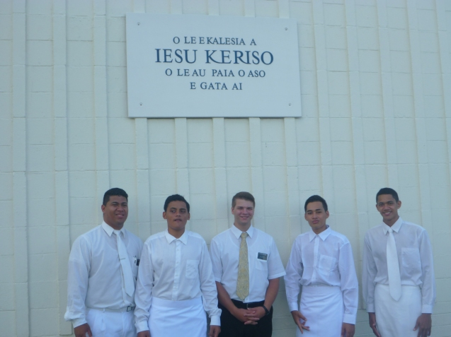 The two on either side of me are our converts and Elder Vaai is on the far left. Mahonri is on the far right and did one of the baptisms!